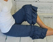 READY TO SHIP women's size 18 Capri Heather Denim Knit Willow Ruffle Capris for Women from GreenStyle