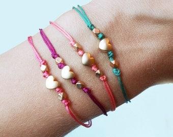 Mini Gold Heart Friendship Bracelet - Adjustable