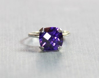 Sterling Silver and Dark Amethyst Colored CZ Ring - Cushion Cut Cz - .925 Sterling Silver Ring - Amethyst Cubic Zirconia