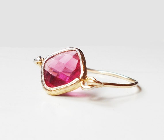 simple ruby ring gold ring by lyndyloudesigns on etsy