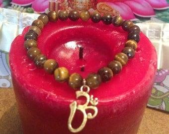 Tiger Eye Bracelet, chakra bracelet, Om charm, yoga meditation