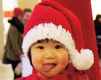 Santa Hat, Christmas hat, Elf hat, Crochet Baby Hat, photo prop, red, white