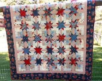 CUSTOM American Prairie Quilt//Red, White, Blue, Cream Patriotic Quilt//Prairie Paisley Moda