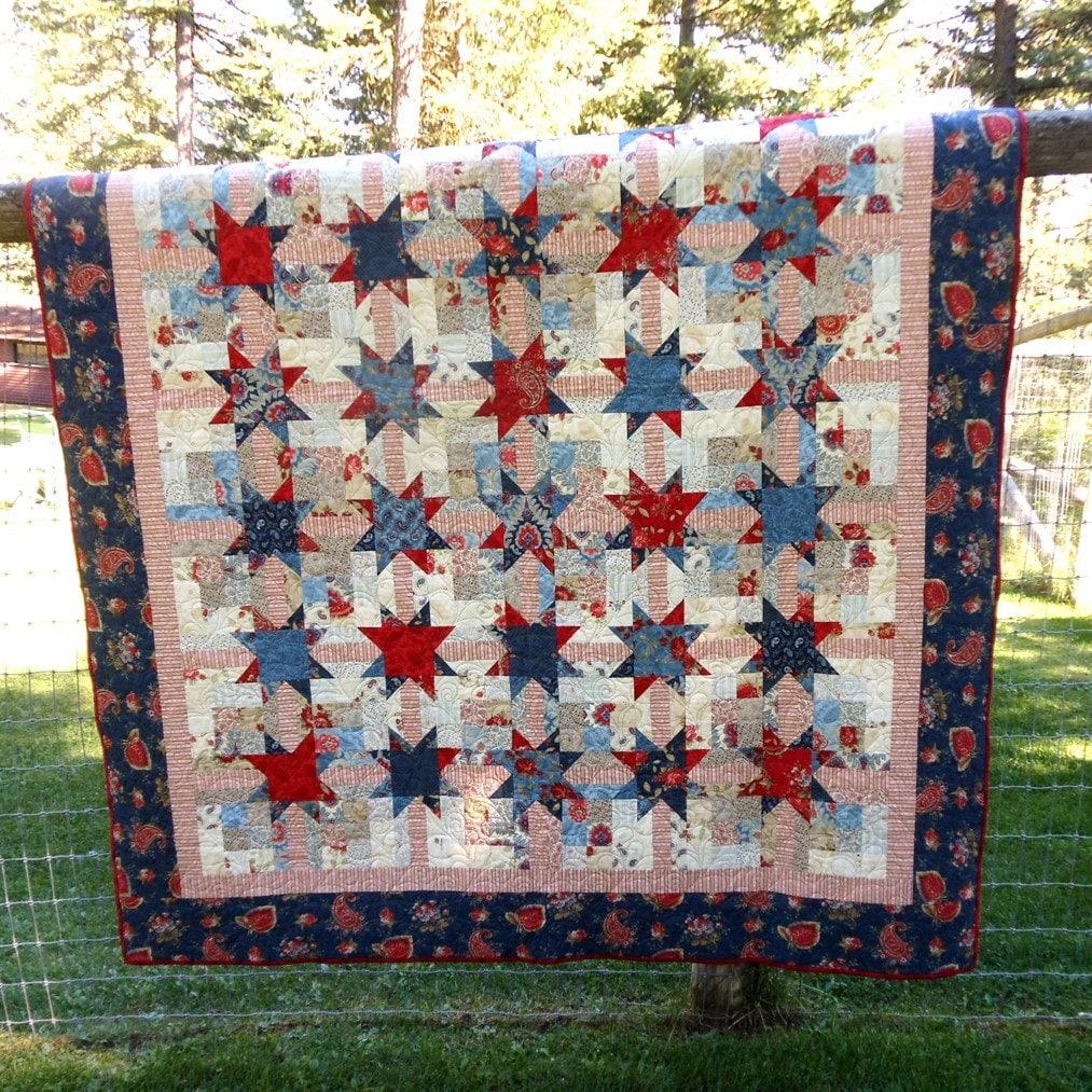 Custom Americana Prairie Quilt Red White Blue Cream