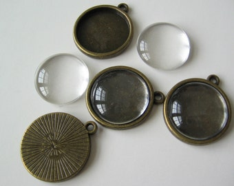 20mm pendant tray setting brass ox and glass cabs domes covers 4sets