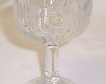 Jeannette Glass Crystal IRIS and HERRINGBONE 4 1/4 Inch High Cocktail