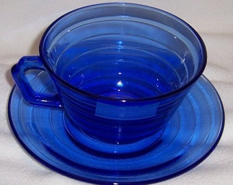 Hazel Atlas Depression Glass Cobalt Blue MODERNTONE Cup and Saucer