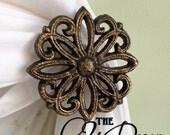 Curtain Tie Backs, Curtain Holdbacks, Gold, Bronze, Antiqued, Distressed, Victorian