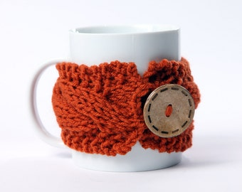 Knitted mug cozy, tea cup cozy,  coffee sleeve, rust orange, warmer