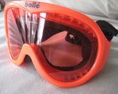 Bolle Ski Snowboarding Goggles Neon Red with red tinted lenses vintage 1980's