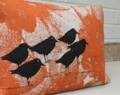 Decorative bird  pillow of screen printed sunset birds,decorative wool cushion cover '13 x 17' .