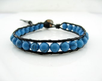 Turquoise Color Beaded Strand Chain Bracelet
