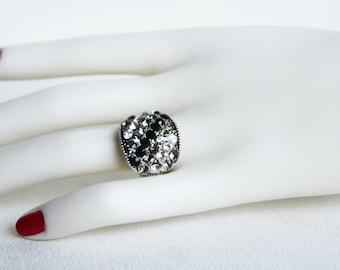 art deco clear crystal swarovski rhinestone black grey adjustable ring wedding bridesmaids gifts birthday gifts