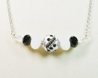 Beaded Black and White Necklace, Beaded Chain Necklace, Chain Necklace