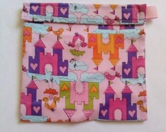 Girls Pink Castle Princess Reusable Sandwich bag