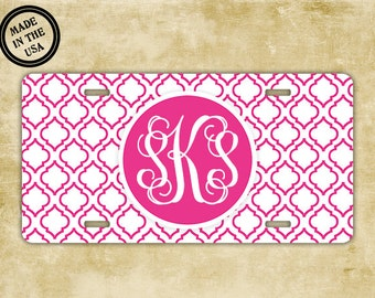 Vanity license plate - Hot pink pattern monogram - Your initials personalized car tag - Bicycle license plate monogrammed bike plate (9828)