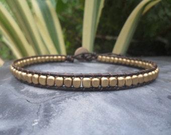 Square   Brass  Leather  Bracelet