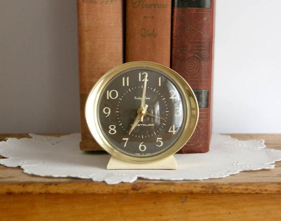 Vintage Westclox Baby Ben Clock 1950s cream retro wind up round
