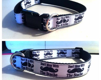 Mustache Dog Collar handmade adjustable