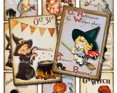 Halloween Instant Download, Digital Collage Sheet, Printable Retro Vintage Images, Witches, Children, Pumpkins, atc, aceo