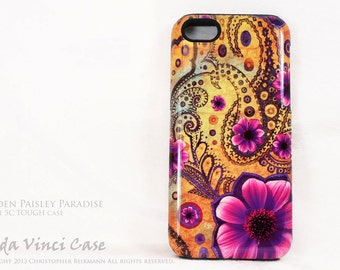 Yellow Floral iPhone 5c Tough Case - Golden Paisley Paradise - Artistic iPhone 5c Case With Yellow and Purple Paisley Art