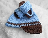 Handmade Baby hat and sandals blue and brown, any color, newsboy, crochet brim hat, infant sandals, baby shoes, baby gift