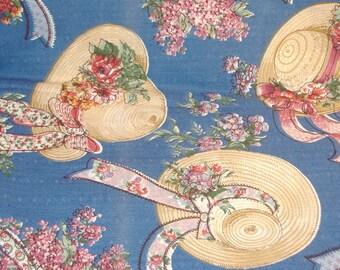 Cotton-Blend Fabric BTY- Summer Flower Straw Hats on Blue - BTY -  Smooth Finish - DESTASH