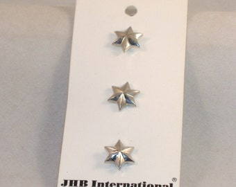 Vintage Chunky Fun Buttons - Silver Stars, 3 Buttons - Acrylic Button, Back Shank