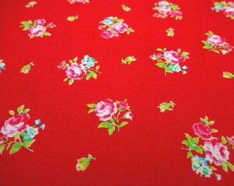 Japanese Fabric LECIEN Flower Sugar Small Rose Red  FQ LFFR1