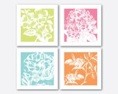 Garden Bright Floral Prints  - Four prints - Bright pastel colors - white blooms - Wall Art Quad - Rhododendron Rose Petunia Dogwood