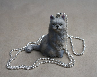 Persian Cat - Plastic Pendant on Shiny Silver Ball Chain