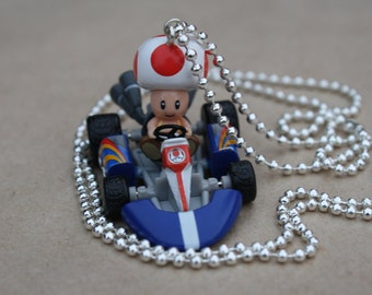 Toad / Mario Kart - Plastic Pendant on Shiny Silver Ball Chain