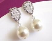 wedding earrings, pearl drop bridal earrings, pearl earrings, cz pearl wedding jewelry, bridesmaid earrings, ivory pearl wedding earings