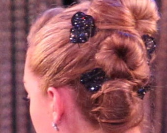 One Glittered Medium Black Double Hydrangea w/ Crystal Center on Alligator Hair Clip- Handmade Floral Headpiece