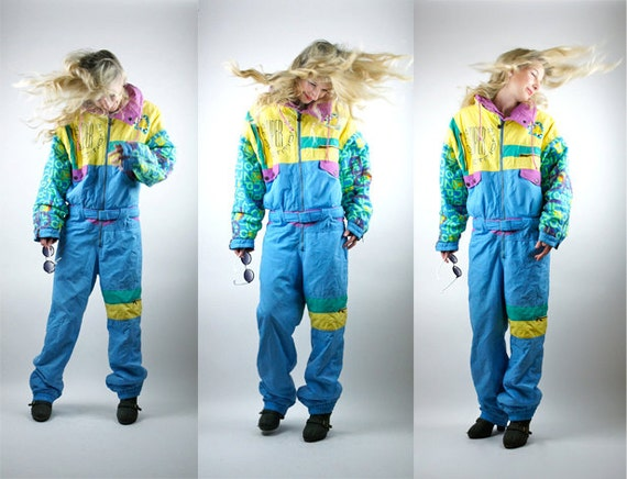 snow time suit  snowboarding  skiing  80s vintage  bright