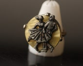 Classic Happy Days Adjustable Ring with Dancing Couple on  Mother-of-Pearl