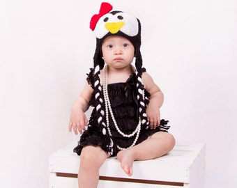 Baby penguin hat, baby christmas hat Pepper Penguin Earflap, Baby hat, Baby girl photography prop