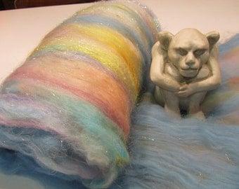 LULLABY 4.0 oz, fiber art batt for spinning,art batt, roving, spinning fiber, angelina sparkle, bling batt, art fiber, wool batt