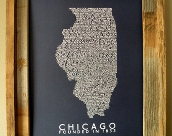 History of Chicago Word Map (Dark Blue) - Unframed