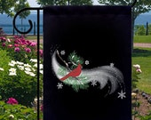 Snowy Night Cardinal New Small Garden Yard Flag, Christmas Winter Holidays
