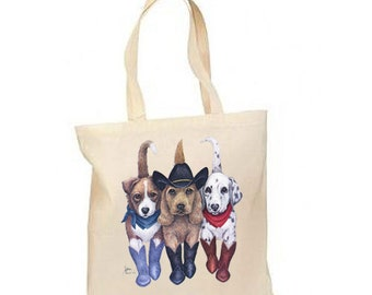 Western Cowboy Dogs New Lightweight Cotton Tote Book Bag