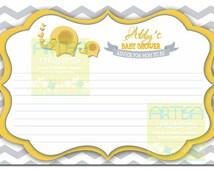 Chevron Elephant Yellow and Grey Advice Card - Chevron Elephant Advice for new mom - Elephant Neutral Advice New Mom - Yellow Gray Advice