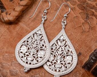 Byzantine Filigree Earrings, Sterling Silver   Byzantine Jewelry Ancient Jewelry Handmade Unique Gift Russian Jewelry Handmade Wedding Bride