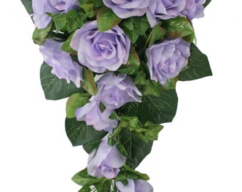 Lavender Silk Rose Cascade - Bridal Wedding Bouquet