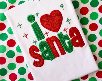 Girls Christmas I love Santa Shirt with Glitter Letters and Bling