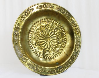 Handmade brass wall hanging plate, goldtone embossed folk art motif etching. Home, office decor. Gold tone, trinket tray, ring dish, unique