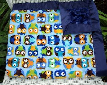 Baby Boy Blue Owl Minky Baby Blanket with Midnight Blue Cuddle Rose Minky on Reverse