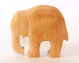 Wooden Elephant, Carved Wooden Animal, Natural Toys