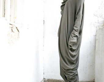 Oversize Grey - Green  Loose Casual Ribbed Top / Asymmetric Raglan Long Sleeves Tunic  Maxi Blouse A02097