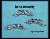 Bali Silver Angel Wing Beads, You Pick the Quantity, Tibetan, 23x7x3mm, Wholesale